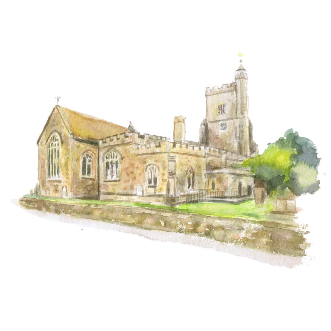 St Nicholas's church Sevenoaks watercolour illustration